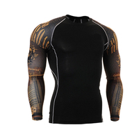 Muscle Mens Compression Tight 3D T Shirt Long Sleeves Double Sides MMA Rashguard Fitness Base Layer