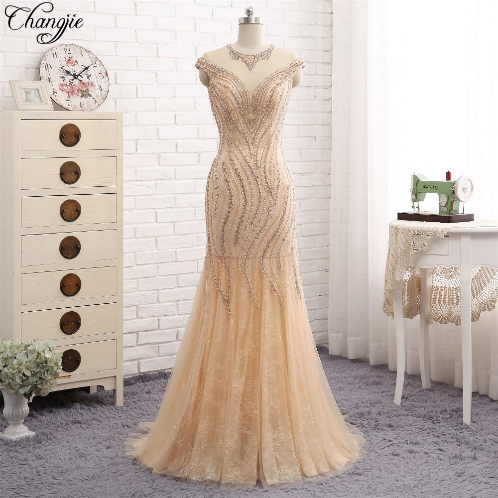 New Design Mermaid Long   Evening     Dress   2018 O-Neck Cap Sleeve Floor Length Beading Tulle Prom   Dresses   robe de soiree