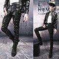 Зима кожа брюки мужчины нет связанные с основной панк заклёпка вилочная часть кожа брюки ночной клуб сцена мотоцикл кожа брюки