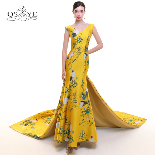74771b82ab97 2018 New Arrival 3D Print Flower Formal Evening Dress Long Mermaid Prom  Dress V Neck Embroidery Satin Formal Party Gown