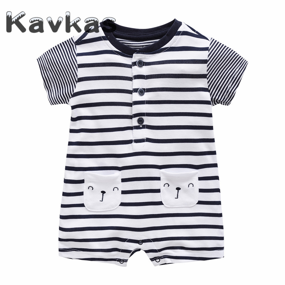Kavkas 2019 Summer Baby   Rompers   Short Sleeve Bamboo Jumpsuit Newborn Baby Clothes 0-9 Months roupa de bebes Baby Boys Clothing