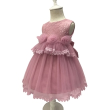 Free Shipping Cotton Lining Dust Pink Infant Dresses 2019 New Style Tulle Baby Dress For 1 Year Birthday Flowers Princess Gowns