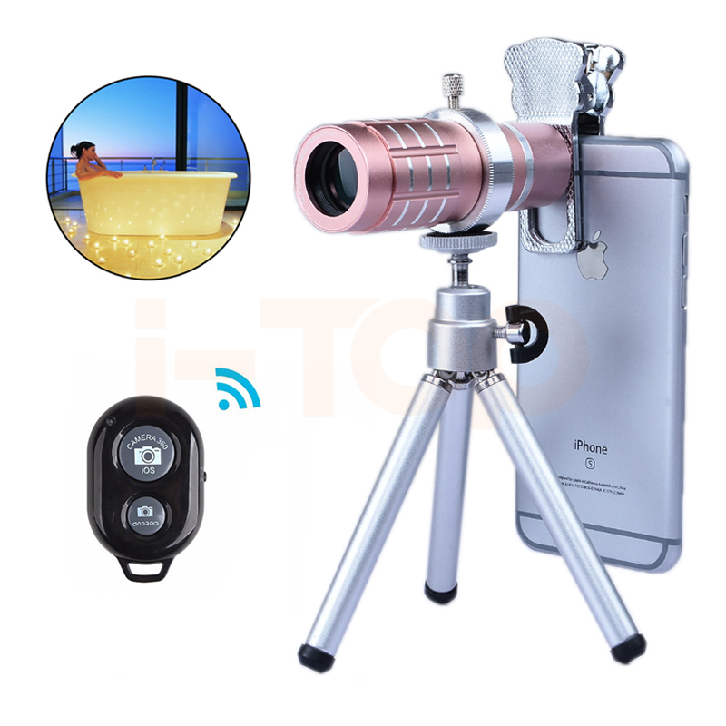 2017 Universal Clip Phone Camera Lentes kit 12x Zoom TelephotoTelescope Lens For Samsung S5 S6 S7 S8 Bluetooth remote control