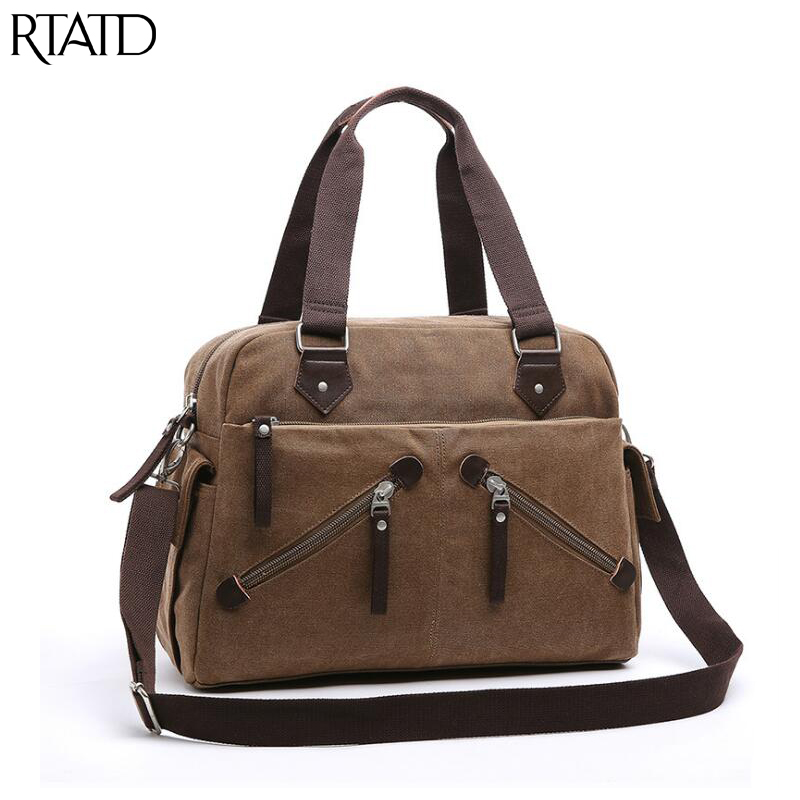 RTATD New Men Canvas Bag Casual Messenger Bags Military Vintage Design Shoulder Bags For Male B304 casual aquarius print and canvas design shoulder bag for women
