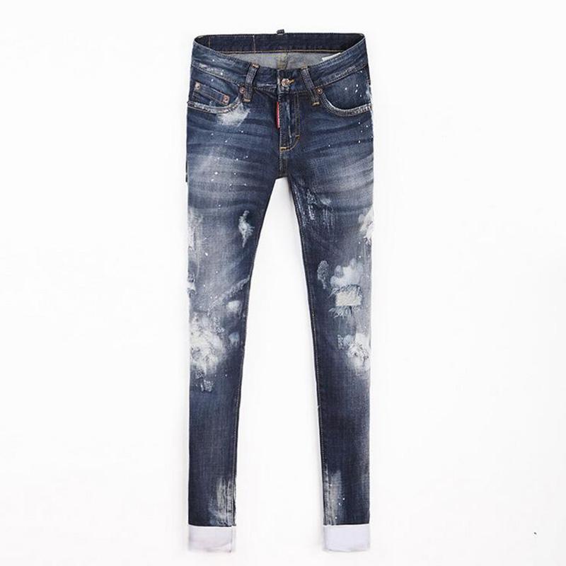 Amazing Jean A La Mode #7: À La Mode Jeans Trou Mince Femelle De Mi Taille Pour Femmes Jean 2016  Nouvelle Chute