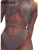 Sexy Halter Bandage Bikini High Waist Swimsuit 2016 Wrap Around Swimwear Women Bathing Suit Bather Maillot