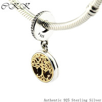 14K Real Gold Family Roots Pendants Charm 925 Sterling Silver Clear Cz Jewelry Fit Bracelets Necklaces