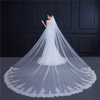 Bride Wedding Luxury Long Veil White Beige Cathedral Veils Lace Edge Bridal Veil with Comb Accessories TS18002