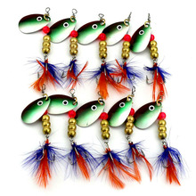 10pcs Fishing Lure Bass Spinner Spoon Jerk Baits Fish Hooks Metal Vib Lure Tackle Freshwater Lures Trout 6G/6.5CM