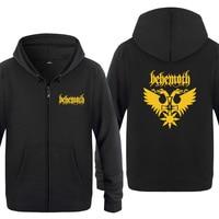 Death Metal Rock Behemoth Print Hoodies Men Hip Hop Fleece Long Sleeve Zipper Jacket Sweatshirt Coat Tracksuit Moleton Masculino