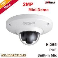 Новый Dahua IPC HDB4231C AS 2MP мини купольная сетевая Камера STARVIS CMOS H.265 Встроенный микрофон Smart обнаружения Поддержка POE и SD карты