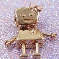 2018 Summer 925 Sterling Silver Charm Robot girl Rose Bella Bot Charm Fit Original Brand logo Bracelet Bead Diy women Jewelry