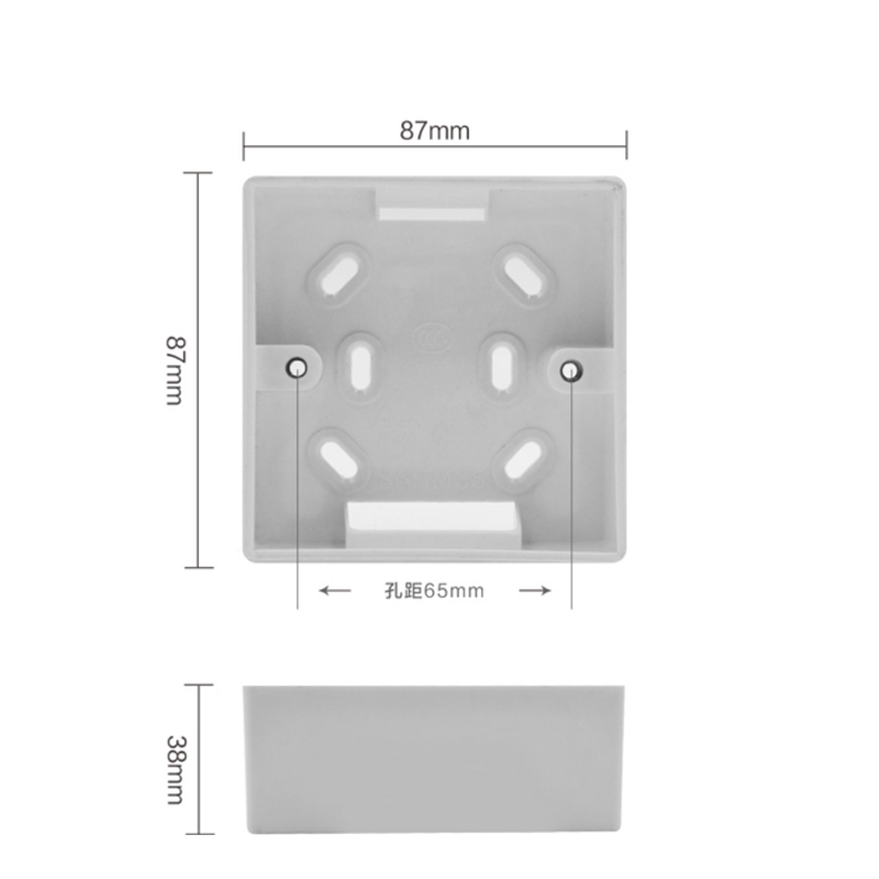Mobu External Mounting Box Internal Cassette 87mm*87mm For 86 Type Touch Switch And USB Socket White Wiring Back Box