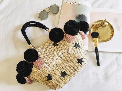 Caker 2018 Women Straw Handbag Flower Tassel Large Big Shoulder Bag Embroidery Letter Beach Holiday Travel Shoulder Bags