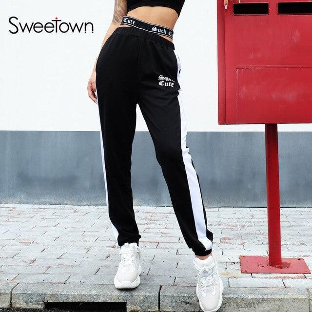 a33a564ea2 Sweetown de cintura alta pantalones de las mujeres de calle Casual  pantalones de otoño Pantalones de