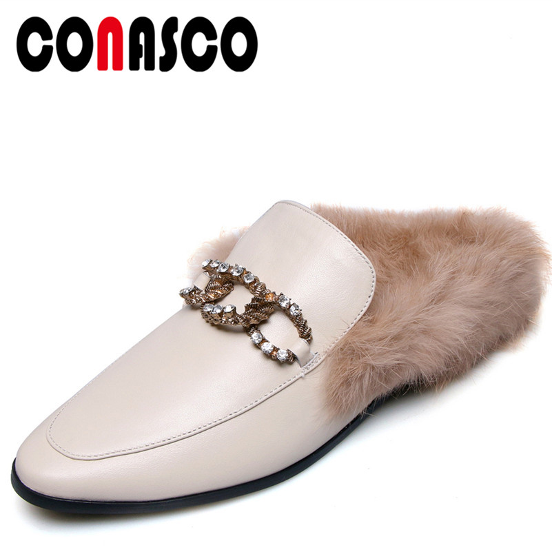 7849cf0722e CONASCO Fashion Women Basic Pumps Genuine Leather Square Heels Shoes  Rhinestone Buckle Decoration Rabbit Fur Brand