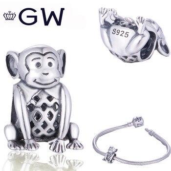 Joyería a la moda GW 925 animales mono cuentas colgantes de joyería...
