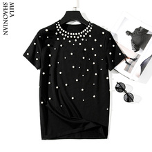 2019 Summer New Pearls Beaded T-Shirt Women Cotton Loose Casual Tees Short Sleeve O-Neck T Shirt Black Korean High Quality