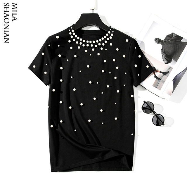 d9bff323e09ea 2019 Summer New Pearls Beaded T-Shirt Women Cotton Loose Casual Tees Women  Short Sleeve O-Neck T Shirt Black Korean High Quality