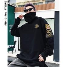 Sinicism Brand Men Black Hood Hoodies Mens Streetwear Letter Print Sweatshirts Male Loose Korean Fashion Clothing Plus Size 2018