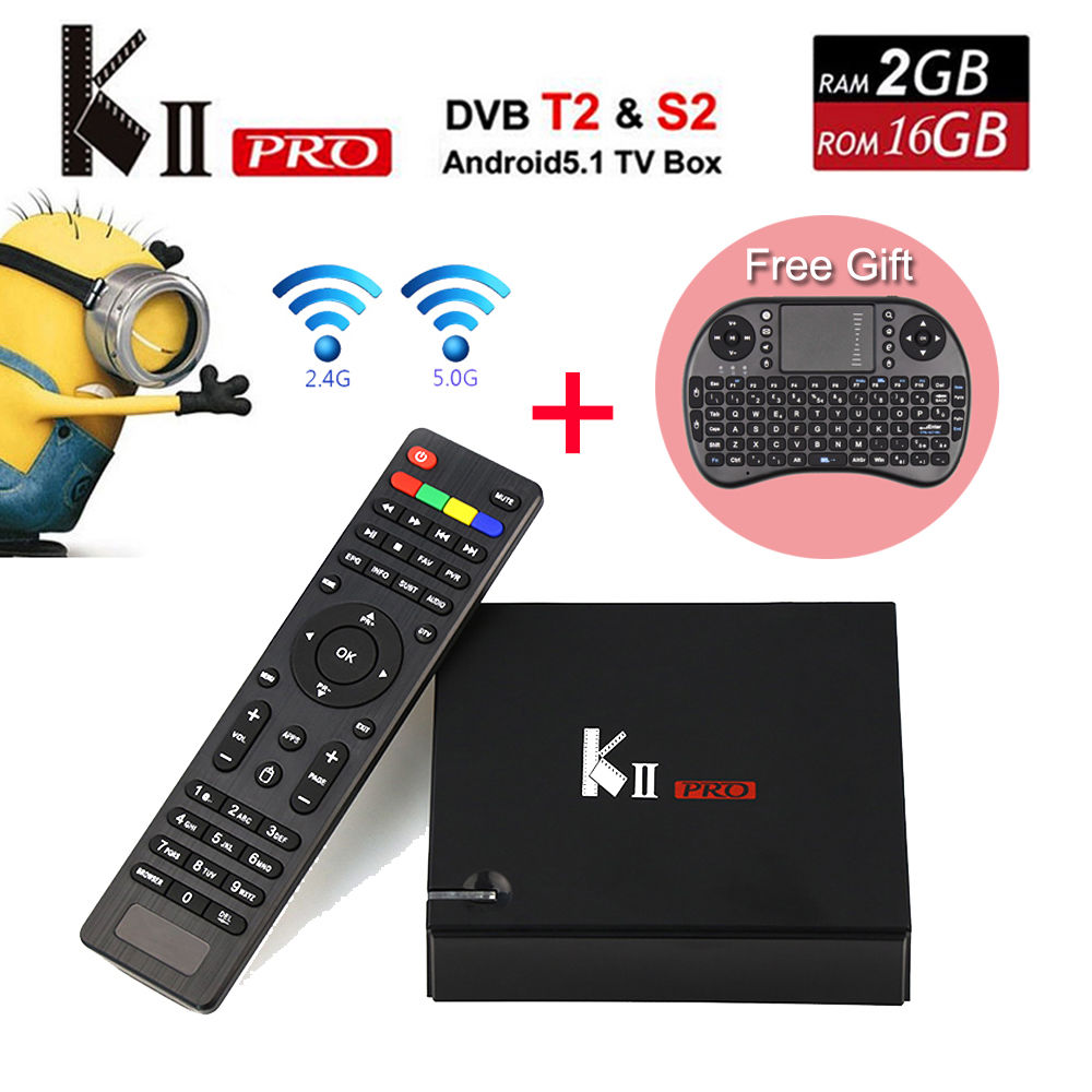 KII Pro 5pcs Android 5.1 TV Box 2GB/16GB DVB-S2/ DVB-T2 Kdi Pre-installed Amlogic S905 Quad-core Smart Media Player m8 fully loaded xbmc amlogic s802 android tv box quad core 2g 8g mali450 4k 2 4g 5g dual wifi pre installed apk add ons