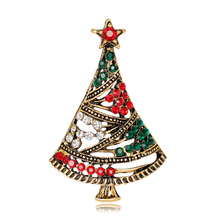 exquisite retro christmas tree crystal brooch for women costume dress scarf pins accessories santa claus merry christmas jewelry - Retro Christmas Trees