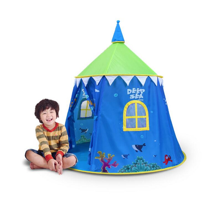 High Quality Children Play House Toy Tent Best Quality Blue Castle Palace Kids Game House Indoor Outdoor Child Tent with Carpet funny fishing game family child interactive fun desktop toy