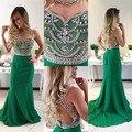Vestido de Noche Verde esmeralda 2016 Abalorios O-cuello con Los Rhinestones de La Sirena Prom Party Vestido de Gasa Fomal vestido de Graduación