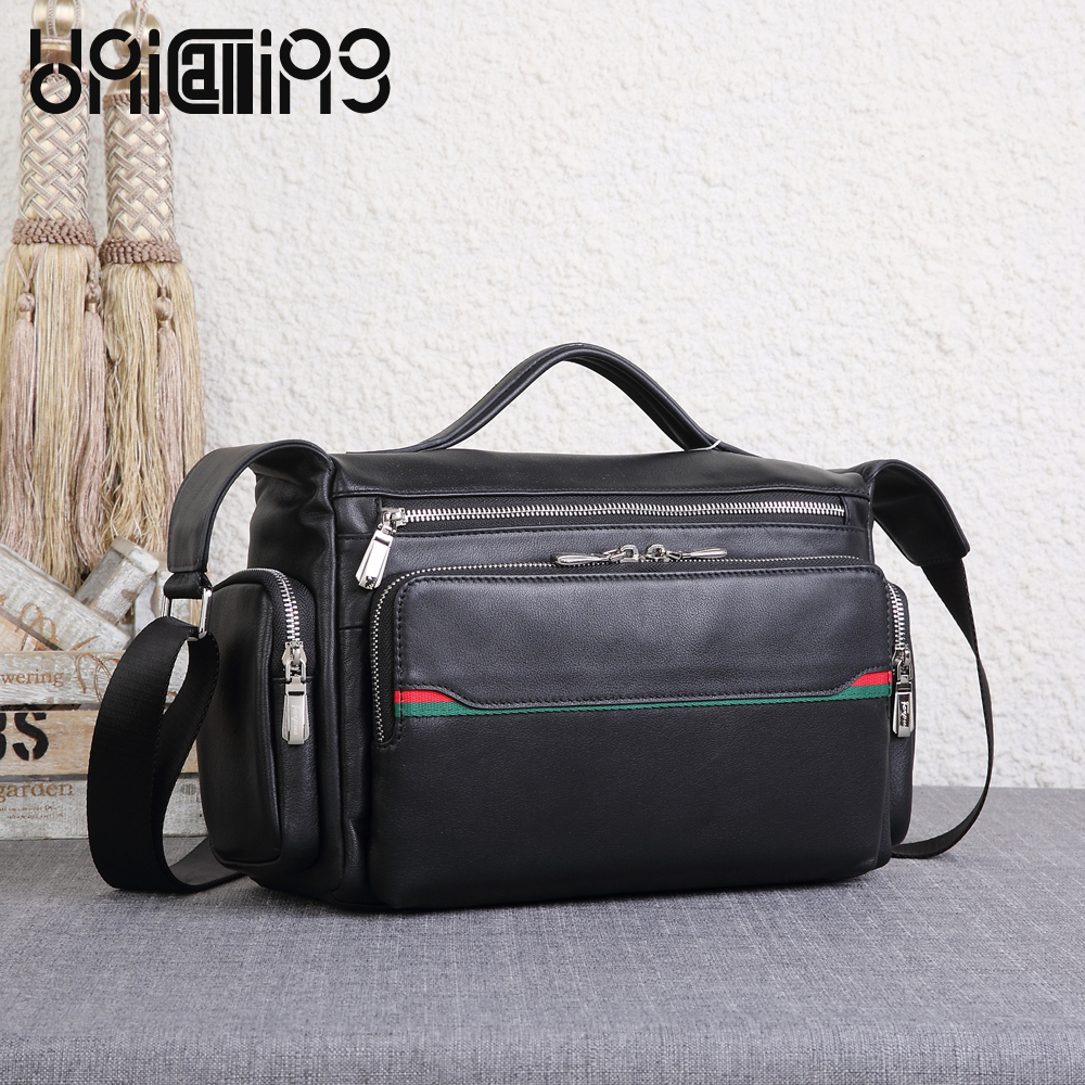 UNICALLING boston bag men fashion casual bag quality genuine leather men shoulder bag fashion leather bag for Micro SLR Camera