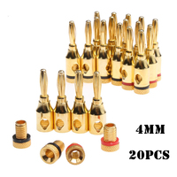 20pcs Musical Audio Speaker Cable Wire Pin 4mm Banana Plugs Set Black Red Goldplated Alloy Adapter Connectors For Electronics