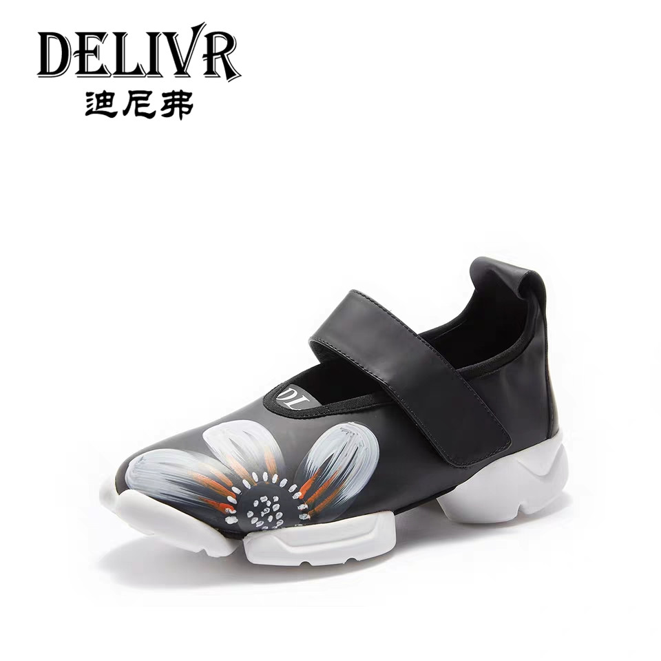 Delivr Sneakers Women Black Genuine Leather Fashion Thick Sole Chunky Shoes Platform Women Casual Shoes Zapatillas Mujer NegrasDelivr Sneakers Women Black Genuine Leather Fashion Thick Sole Chunky Shoes Platform Women Casual Shoes Zapatillas Mujer Negras