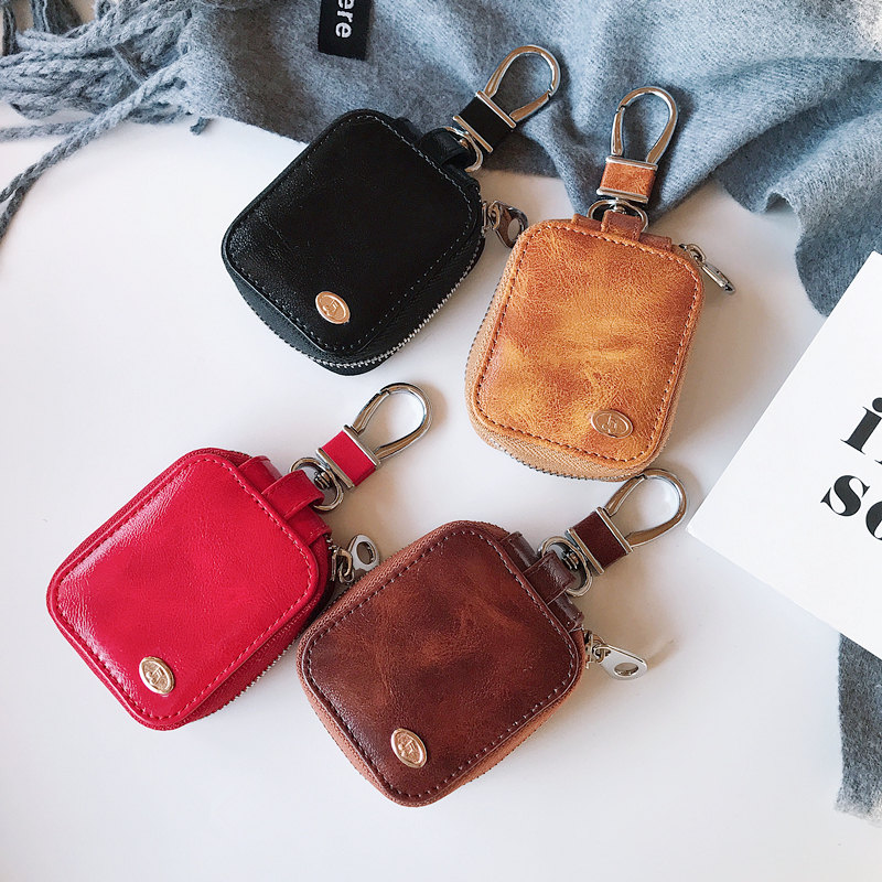 Luxury business casual leather earphone storage bag case For Apple Airpods Shockproof Accessories New Air Pods 2 Earpods Cover