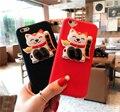 2017 lucky cat colgante del gatito casos para iphone 6 pluto 6 más 6 s 6 s + de maneki neko para Regalos de año nuevo rojo y negro