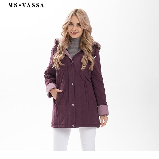 MS Vassa Для женщин Мужские парки Новинка 2017 года зима толстые Куртки капюшон с искусственного меха Классический контраст Moss Большие размеры 4XL 6XL верхняя одежда