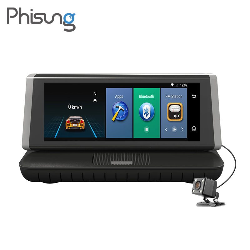 Phisung E02 8 Tactile 4g Android wifi GPS Full HD 1080 p Vidéo Enregistreur Double Lentille Greffier Dash cam ROM 16 gb ADAS voiture dvr caméra