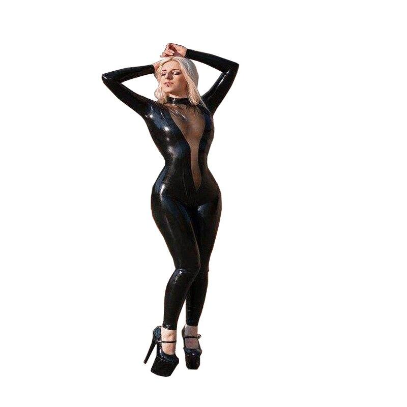 Lingerie sexy femmes Sexy Latex caoutchouc costumes avec fermeture à glissière arrière fétiche combinaison Gummi 0.4mm