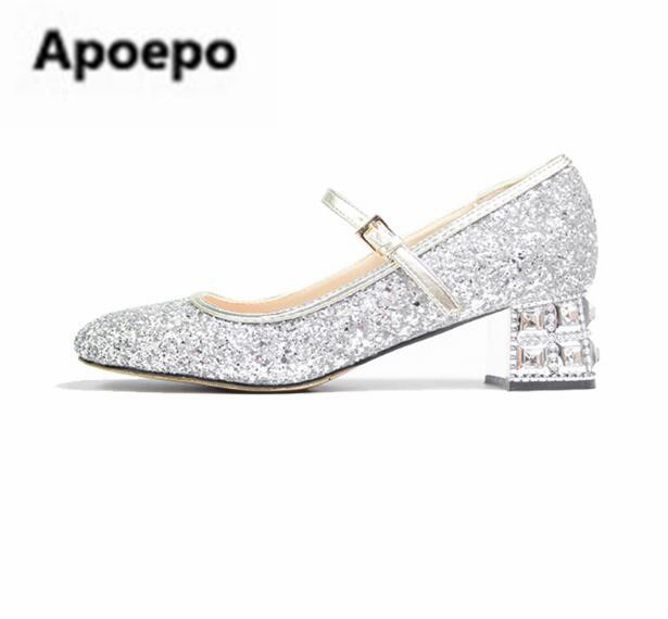 Apoepo brand mary janes shoes sliver bling bling wedding shoes round toe crystal square heels med heels pumps women ankle buckle apoepo handmade wedding bride shoes bling bling crystal pregnant shoes 3 5 cm increased internal low heels shoes mary janes shoe