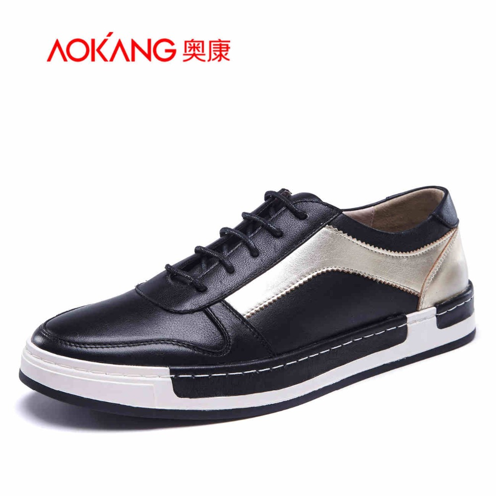 AOKANG 2017 New Arrival men's casual shoes men genuine leather shoes men's fashion shoes free shipping aokang 2017 new arrival women flat genuine leather shoes red pink white women shoes breathable and soft free shipping
