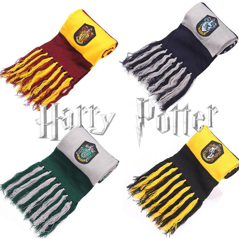Three styles Harri Potter Scarves Gryffindor/Slytherin/Hufflepuff/Ravenclaw Scarves Cosplay Costumes Children's Day Gift Hogwart