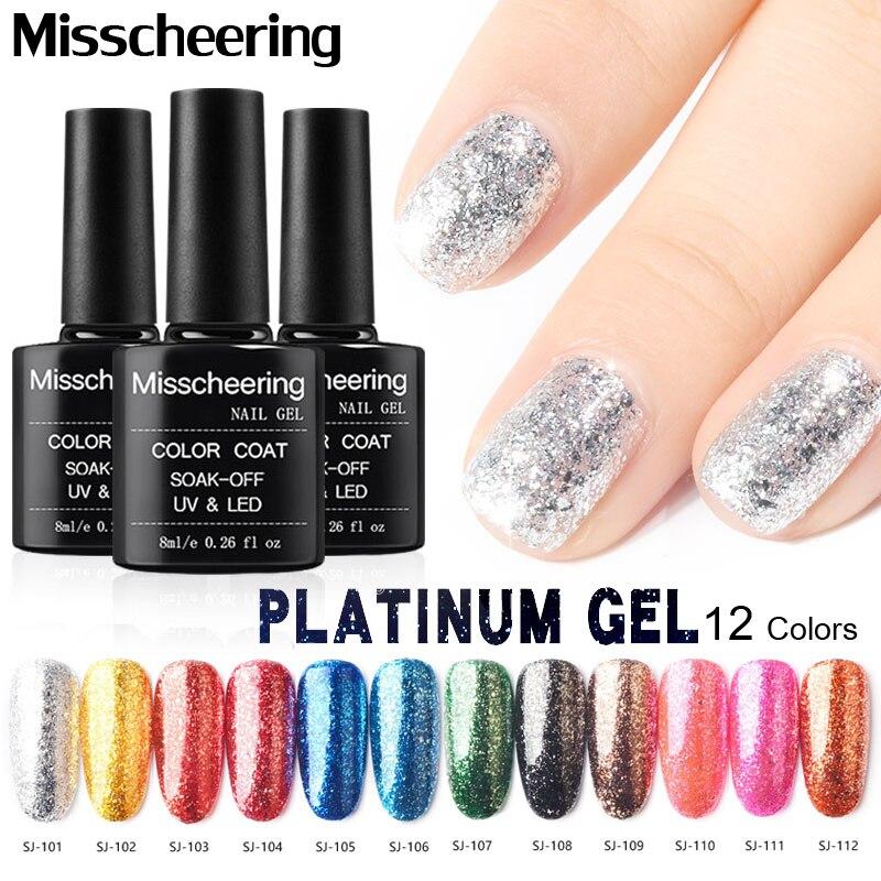 12 Colors 8ML Platinum Color Nail Polish Gel Paints Crystal Lacquer ...