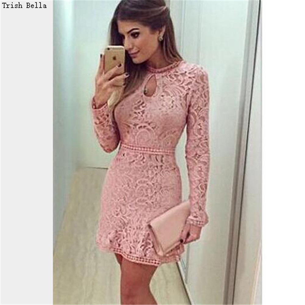 2017 Fashion Pink Lace Dress Spring Summer Women\'s Sexy Party ...