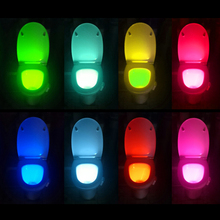цена на Smart Sensor LED Toilet Light Seat Novelty Bathroom WC Lighting 8 Colors Sensitive Motion Activated Night Light Lamp For Toilet