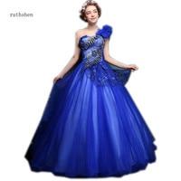 Ruthshen винтажные Выпускные платья королевский синий одно плечо платье для выпускного с аппликациями бальное платье в складку пышные платья