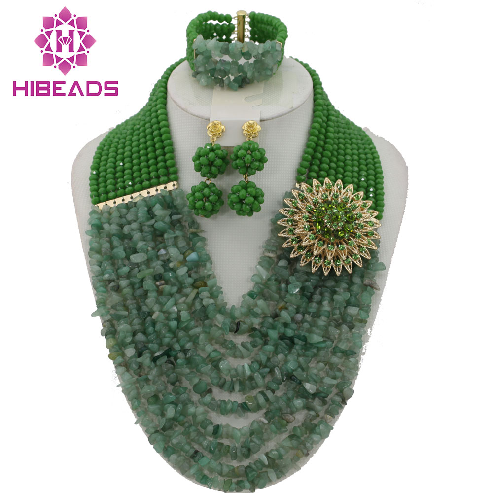 Fabulous African Beads Jewelry Set Green Nigerian Wedding African Beads Jewelry Set Crystal 2017 New Free Shipping ABD02