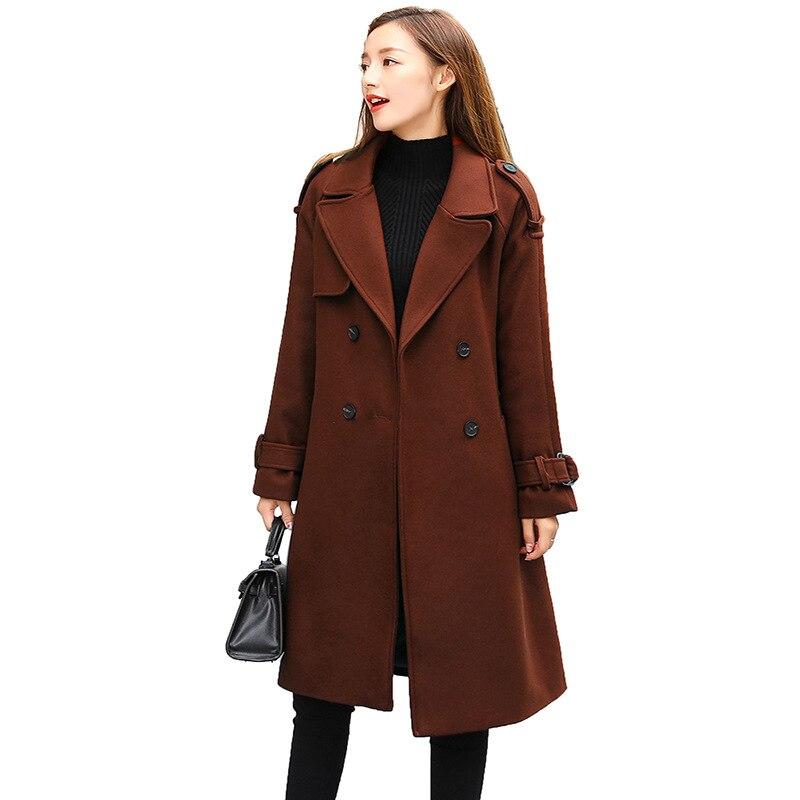 Automne 2018 manteau de laine Slim Trench femmes mode ceinture Turn Down col à manches longues manteau bonne qualité femmes Trench manteaux FY016