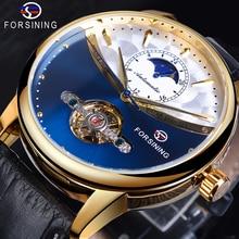Forsining Tourbillon כחול אוטומטי שעון גברים קלאסי Moonphase עיצוב אמיתי רצועת עור עמיד למים עסקי שעון יד מתנה