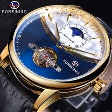 Forsining montre avec bracelet automatique bleu Tourbillon, classique, Design en phase de lune, en cuir véritable, étanche, cadeau pour affaires