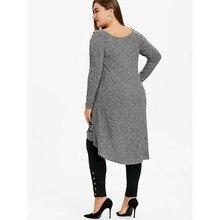 Plus Size 5XL Tunic Top Casual Long Shirt Loose Fashion Female Tops Oversized O Neck Shirt Big Size