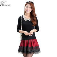 Women S Elegant Cute Party Dress Lady S Knitting Patchwork High Quality Mini Dresses Autumn Winter