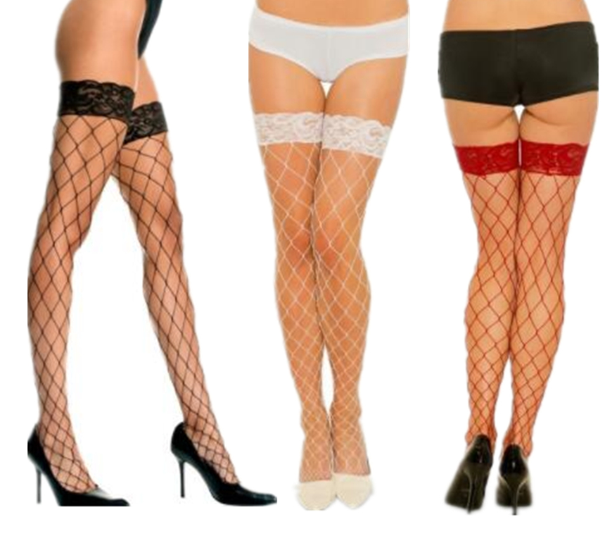 Sexy Big Mesh Stockings Women Lace Top Sheer Stay Up Thigh High Stockings Ladies Black White Red Nylon Fishnet Pantyhose